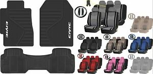 All Weather Heavy Duty Rubber Floor Mats Premium Seat Covers For Honda Civic