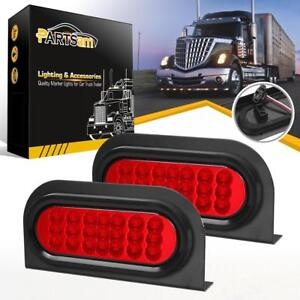 2x Red 21 Led 6 Oval Stop Turn Tail Brake Reflective Lights W mounting Brackets