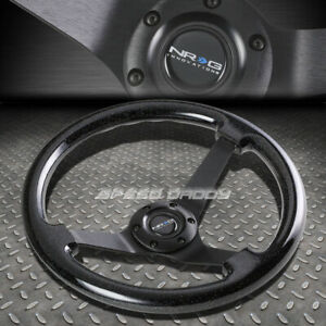 Nrg 350mm 3 Deep Dish 6 hole Sparkle Black Wood Steering Wheel Black Center