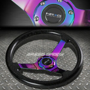 Nrg 350mm 3 deep Dish 6 hole Sparkle Black Wood Steering Wheel Neo Chrome Center