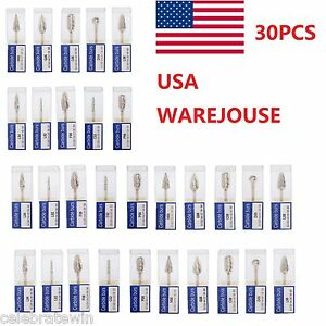 30x Dental Tungsten Carbide Burs Tip 2 35mm For Marathon Polisher Handpieces Jjl