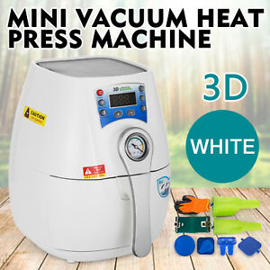 3d Mini Vacuum Heat Press Machine White Hq Sublimation Convenient 1300w Printer