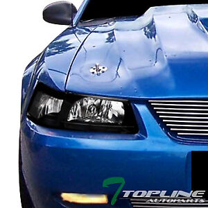 Topline For 1999 2004 Ford Mustang Black Clear Housing Headlights Signal Pair Nb