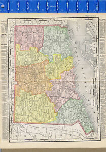 Connecticut 1895 Antique State Map 119 Year Old