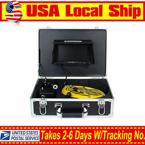 50m Sewer Updated Pipe Pipeline Drain Inspection Snake Cam 8gb Dvr 7 Monitor