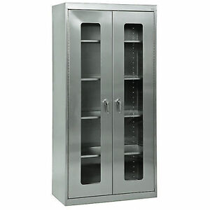 Sandusky Lee Stainless Steel Storage Cabinet Clear View 48inw X 24ind X 78inh
