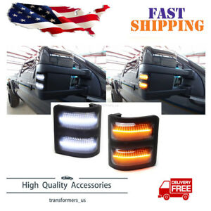 For 08 16 Ford F250 F350 F450 F550 Smoked Lens Switchback Led Side Mirror Lights