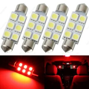 4 X Red 41mm 42mm 6smd 5050 Festoon Dome Map Led Light 578 211 2 212 2 Tool