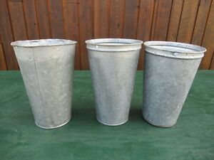 Vintage 3 Maple Syrup Old Galvanized Sap 12 Pails Buckets Planters Great Decor