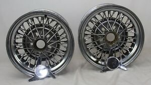 2 15x7 Wire Cragar 50 spoke Tru Spoke Old School Hot Rod Lowrider Universal