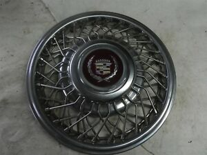 1980 S Cadillac Wire Wheel 14 Inch Hub Caps Wheel Covers Clips Are All Intact
