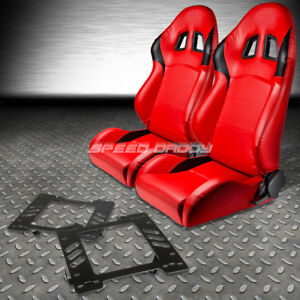 2 X Type r Red Pvc Leather Racing Seats bracket For 99 04 Ford Mustang Sn95 Pony