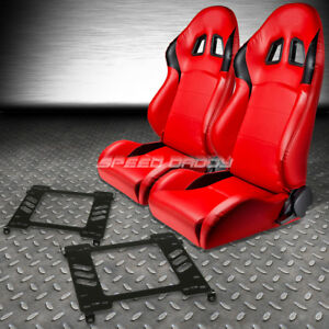 2 X Type R Red Pvc Leather Racing Seats Bracket For 94 01 Acura Integra Db Dc1 2