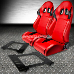 2 X Type r Red Pvc Leather Racing Seats bracket For 67 69 Chevy Camaro firebird