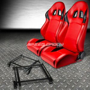 2 X Type R Red Pvc Leather Racing Seats Bracket For 02 06 Acura Rsx Dc5 K20 Dc