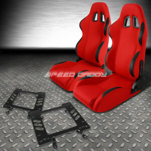 Reclinable Red Fabric black Trim Racing Seat bracket for 79 98 Ford Fox Mustang