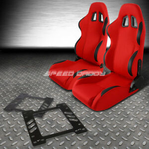 Reclinable Red Fabric Black Trim Racing Seat Bracket For 78 88 Chevy Monte Carlo