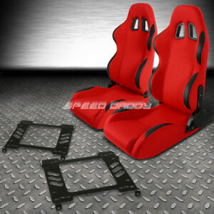Red Cloth Black Reclinable Racing Seats Bracket For 94 01 Acura Integra Db Dc1 2