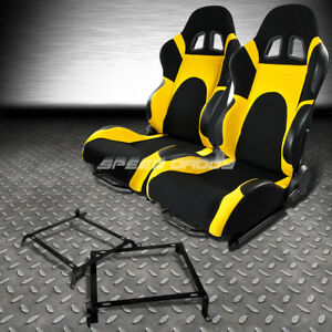 2x Black yellow Reclinable Racing Seats bracket For 88 91 Honda Crx Dx si Ee Ef
