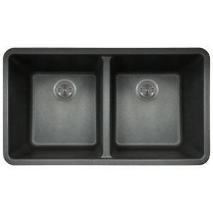 Polaris Sinks Black Astragranite Double Bowl Kitchen Sink