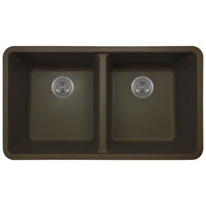 Polaris Sinks Mocha Astragranite Double Bowl Kitchen Sink