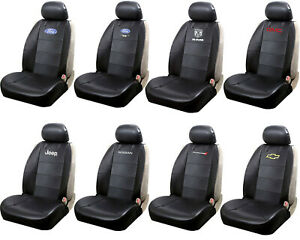 Black Synthetic Leather Sideless Car Truck Front Seat Cover With Headrest Cover