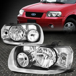 For 05 07 Ford Escape Chrome Housing Clear Corner Headlight Replacement Headlamp
