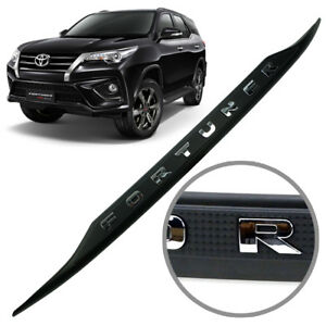 Strip Line Tailgate Accent Cover Matte Black Chrome For Toyota Fortuner 2016 18