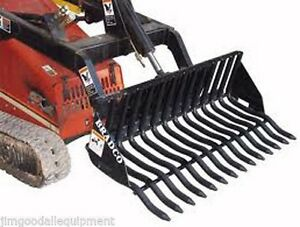 Rock Bucket For Mini Skid Steer Loaders 42 Width 1 1 8 Tine Width Fits Most