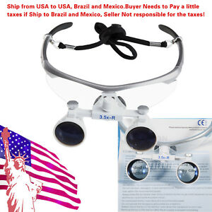Us To Braz Magnifier Dental Surgical 3 5x Binocular Loupes Optical Glasses Silve
