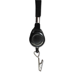 Advantus Lanyards With Retractable Id Reels Clip Style 36 inch Long Black