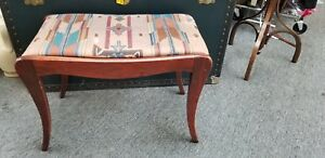 Vintage Piano Bench Vanity Stool Mahogany French Style Solid Wood