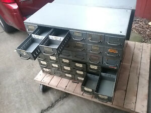 Equipto 18 Drawer Unit Metal Industrial Parts Drawers 8540 17 Deep Cabinet