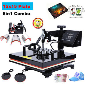 8in1 Heat Press Machine Sublimation For T shirts Hat Cup Plate 15x15 Swing Away