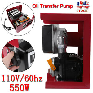 Electric Oil Transfer Pump W Meter 110v 16gpm Diesel Fuel Manual Nozzle Hose