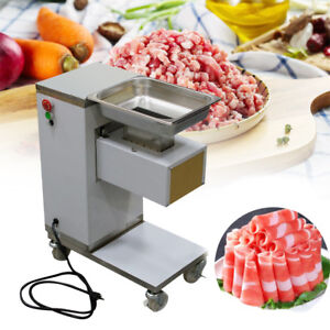 Stainless Commercial Meat Slicer Meat Cutting Machine Cutter 500kg hour W wheels