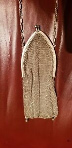 Antique Victorian Whiting Davis Sterling Silver Mesh Purse