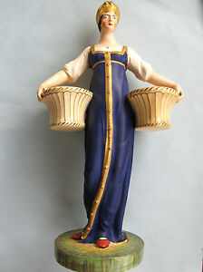 Rare Large Russian Porcelain Figure Of Woman Carrying Baskets C 1850s