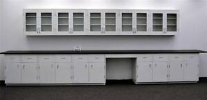 15 Wall 17 Base Laboratory Cabinets W Industrial Tops St Ls open2