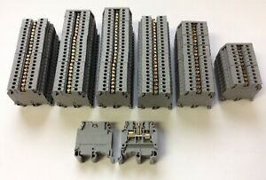 Lot Of 131 Entrelec Ma2 5 5 Screw Clamp Terminal Blocks 600v 30a 22 12awg Gray