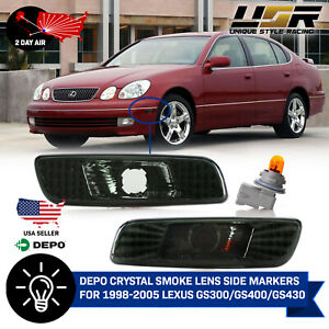 Depo Smoke Front Bumper Side Markers For 1998 2003 Lexus Gs300 Gs400 Gs430