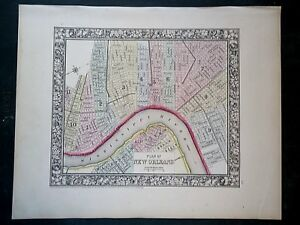 Vintage 1860 New Orleans Map Old Antique Original Atlas Map 100918