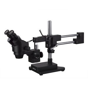 Amscope 7x 135x Binocular Stereo Zoom Microscope Black Double Arm Boom Stand
