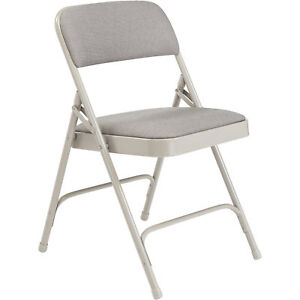 National Public Seating Steel Folding Chair W fabric Padded Seat And Back 4 pk