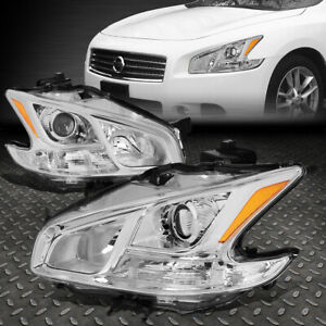 For 09 14 Nissan Maxima Pair Chrome Housing Amber Side Projector Headlight lamps