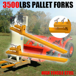 43 3500lbs Forklift Clamp On Pallet Forks Loader Bucket Skid Steer Bar Tractor