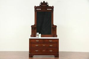 Victorian Eastlake Antique Walnut Chest Or Dresser Marble Top Mirror 29679