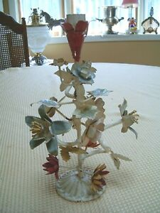 Vtg Tole Floral Single Candle Stick Holder 11 Tall Left As Found Free Ship