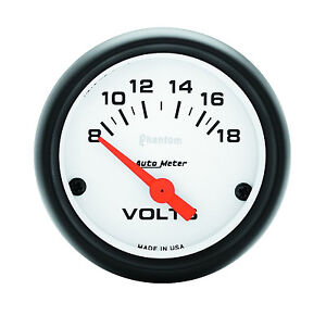 Auto Meter Phantom Electric Volt Voltmeter Gauge 2 1 16 In 8 18 Volt 52mm
