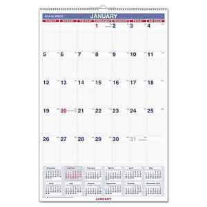 At a glance Monthly Wall Calendar With Ruled Daily Blocks 20 X 30 White 2019